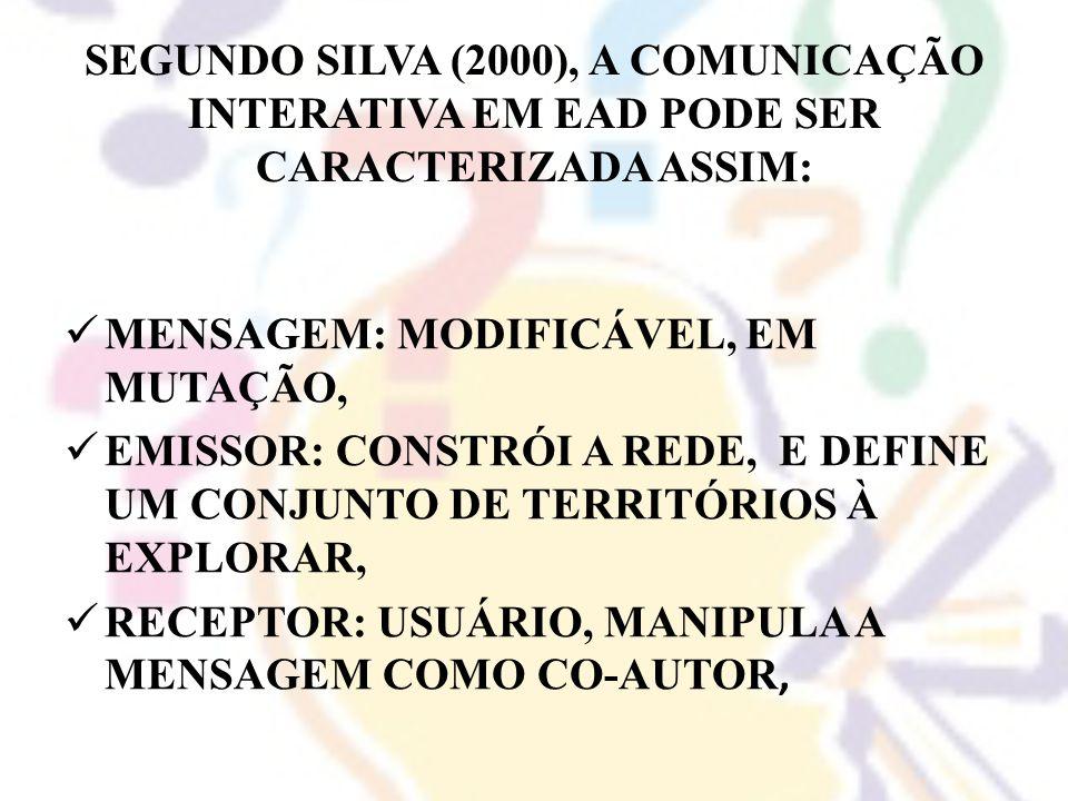 SEGUNDO SILVA (2000), A COMUNICAÇÃO INTERATIVA EM EAD PODE SER CARACTERIZADA ASSIM:
