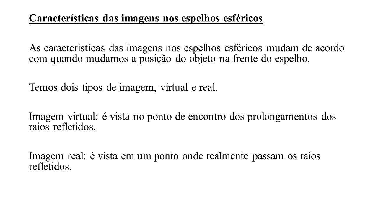 Características das imagens nos espelhos esféricos