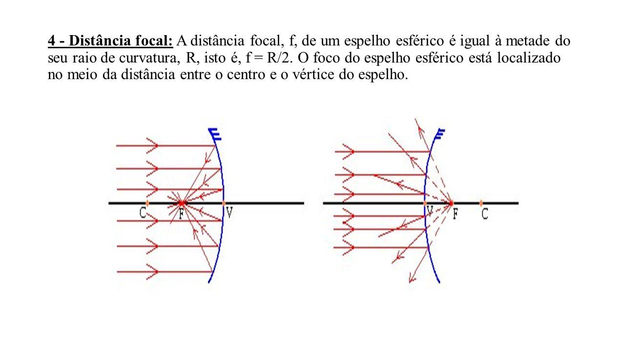 4 - Distância focal: A distância focal, f, de um espelho esférico é igual à metade do seu raio de curvatura, R, isto é, f = R/2.