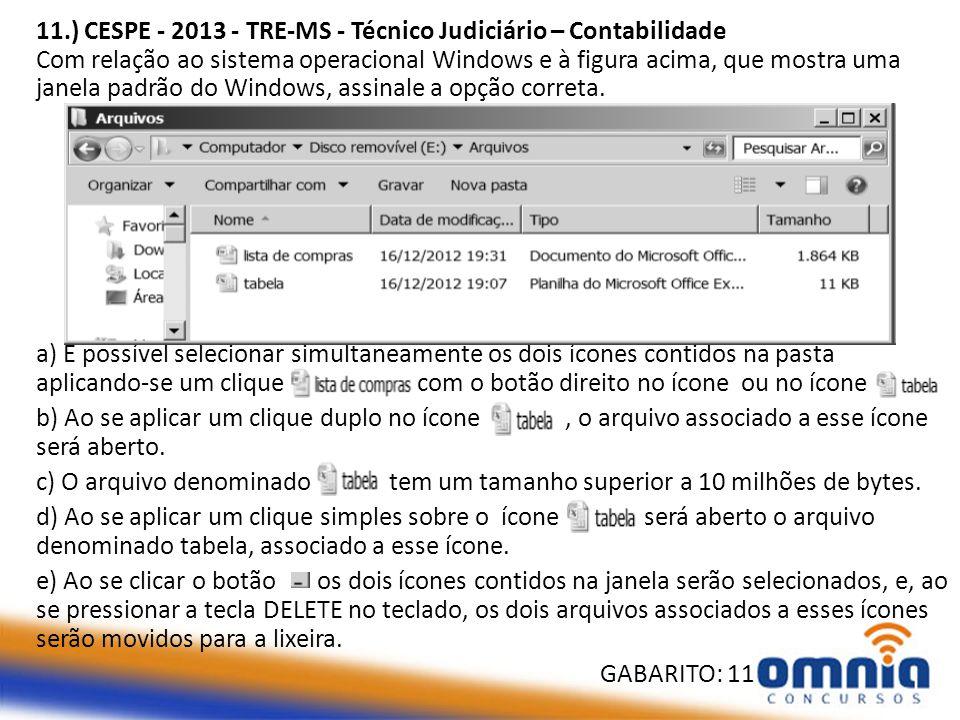 11.) CESPE - 2013 - TRE-MS - Técnico Judiciário – Contabilidade Com relação ao sistema operacional Windows e à figura acima, que mostra uma janela padrão do Windows, assinale a opção correta.