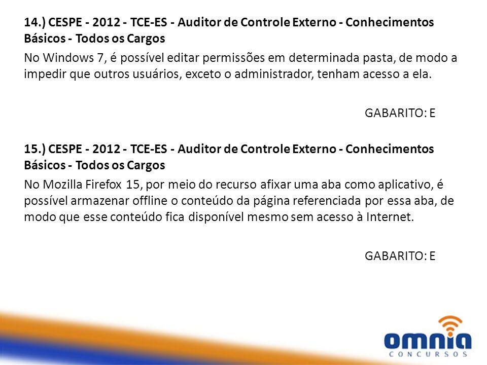 14.) CESPE - 2012 - TCE-ES - Auditor de Controle Externo - Conhecimentos Básicos - Todos os Cargos