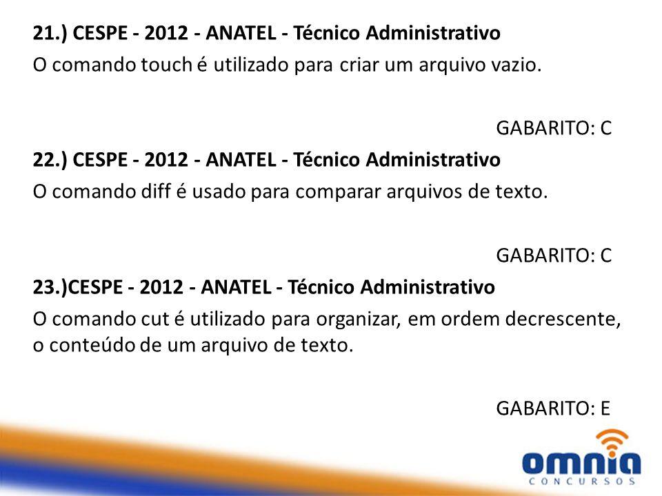21.) CESPE - 2012 - ANATEL - Técnico Administrativo