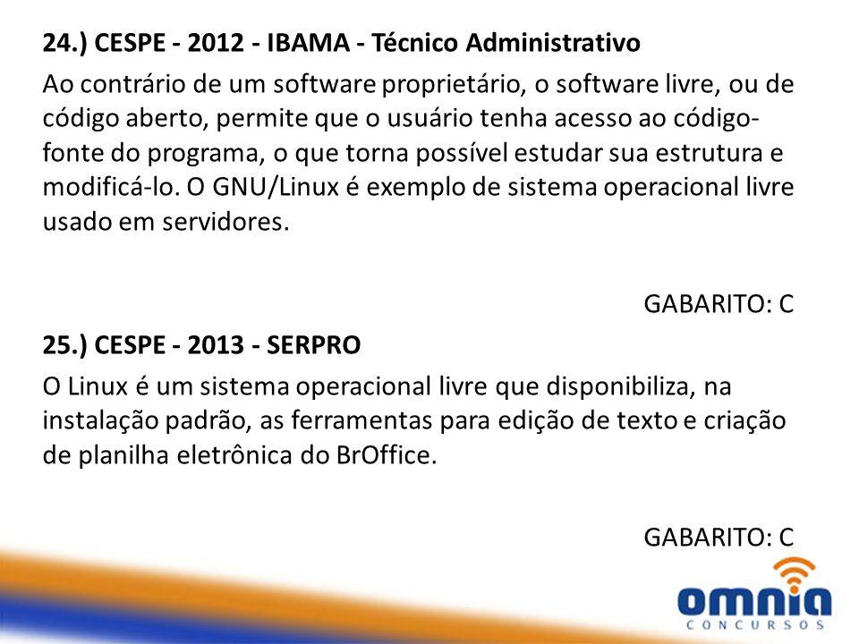 24.) CESPE - 2012 - IBAMA - Técnico Administrativo