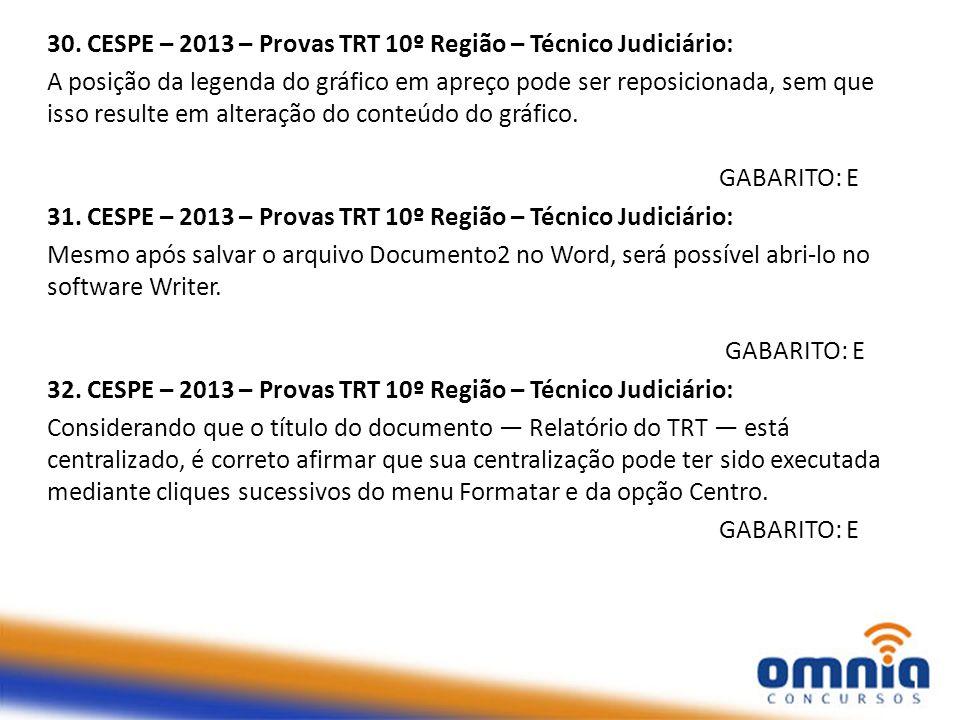 30. CESPE – 2013 – Provas TRT 10º Região – Técnico Judiciário: