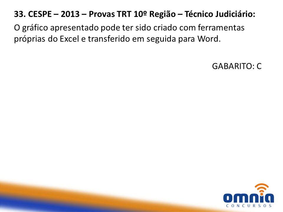 33. CESPE – 2013 – Provas TRT 10º Região – Técnico Judiciário: