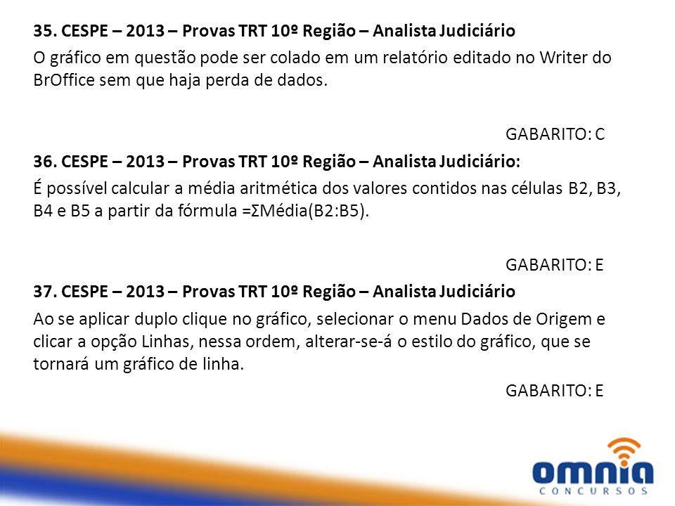 35. CESPE – 2013 – Provas TRT 10º Região – Analista Judiciário