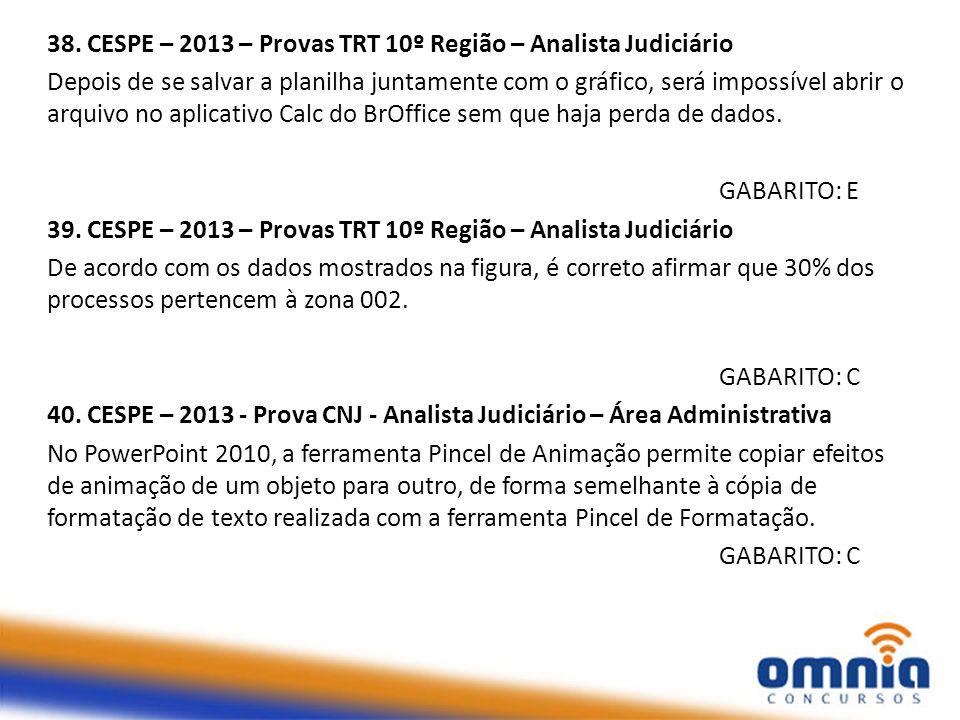 38. CESPE – 2013 – Provas TRT 10º Região – Analista Judiciário
