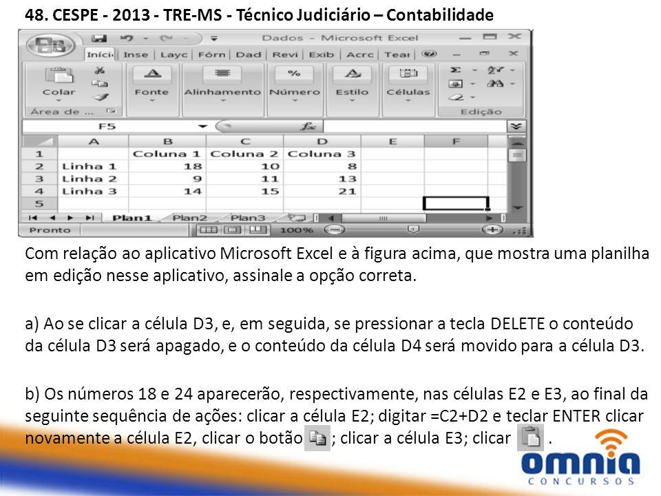 48. CESPE - 2013 - TRE-MS - Técnico Judiciário – Contabilidade