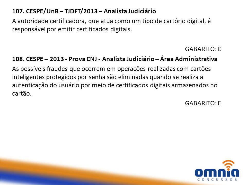107. CESPE/UnB – TJDFT/2013 – Analista Judiciário
