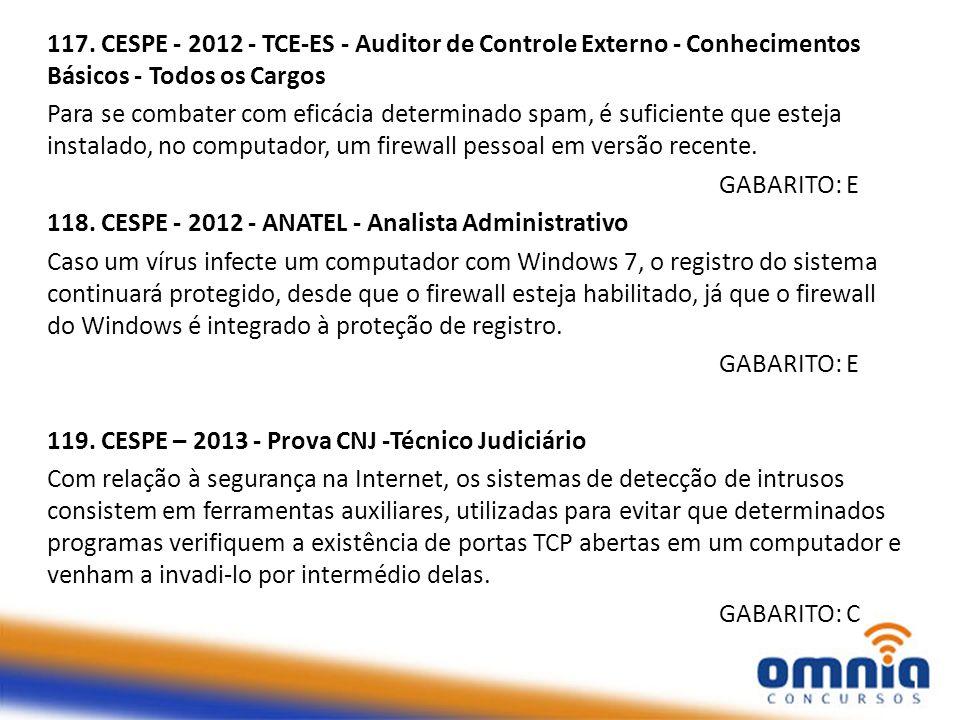 117. CESPE - 2012 - TCE-ES - Auditor de Controle Externo - Conhecimentos Básicos - Todos os Cargos