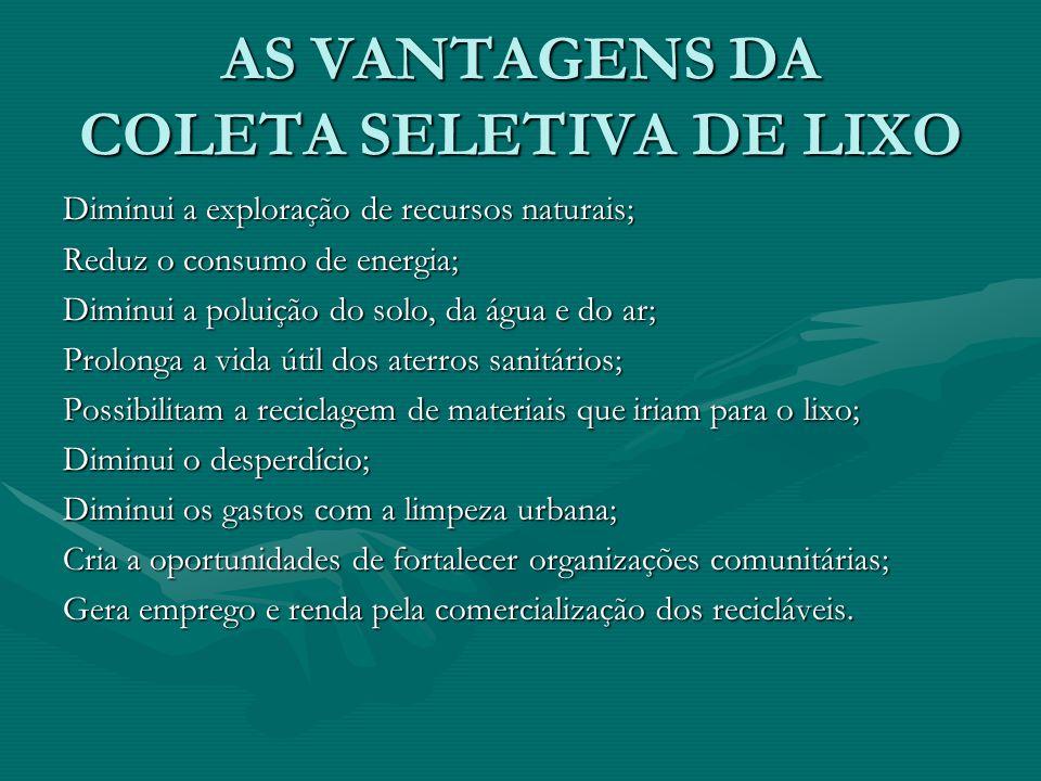 AS VANTAGENS DA COLETA SELETIVA DE LIXO