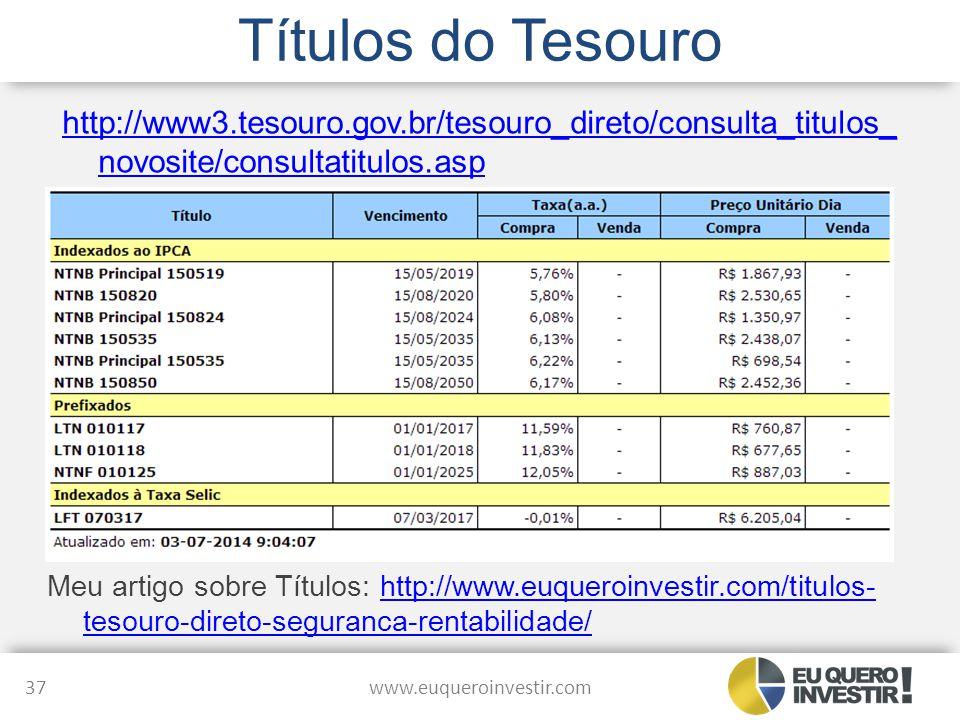 Títulos do Tesouro http://www3.tesouro.gov.br/tesouro_direto/consulta_titulos_novosite/consultatitulos.asp.