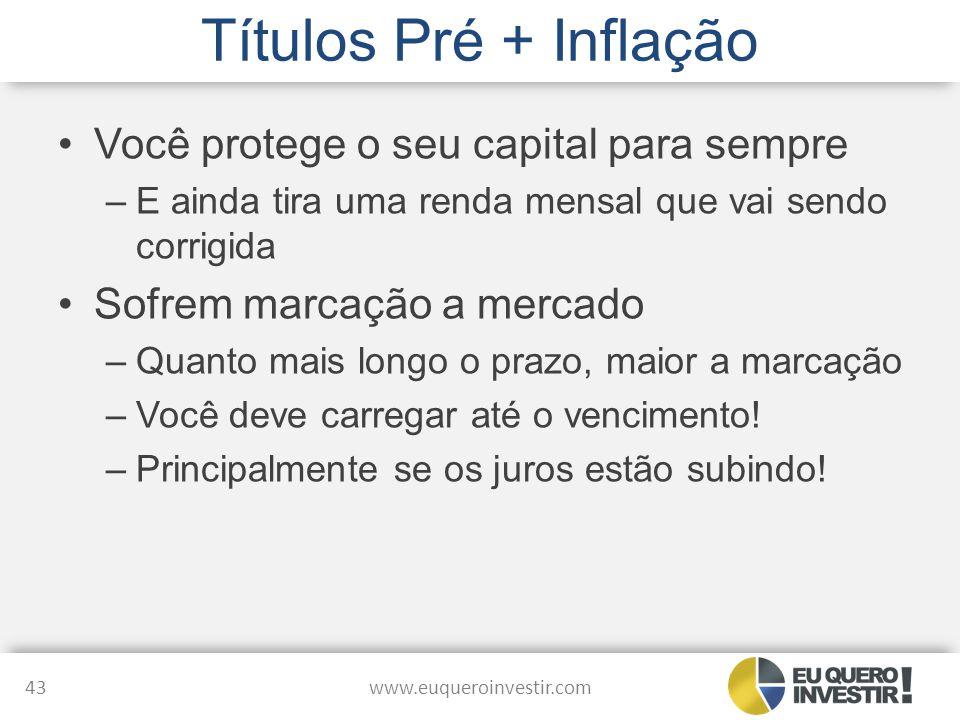 Títulos Pré + Inflação Você protege o seu capital para sempre