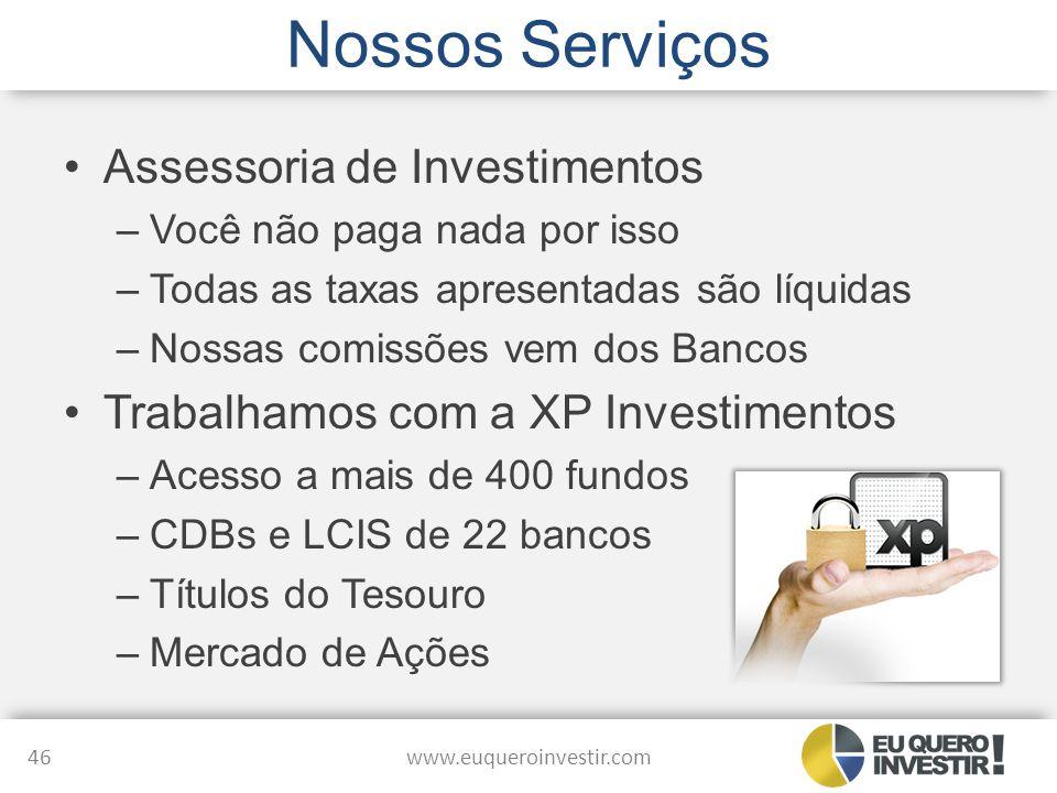 Nossos Serviços Assessoria de Investimentos