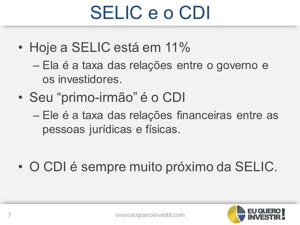 SELIC e o CDI Hoje a SELIC está em 11% Seu primo-irmão é o CDI