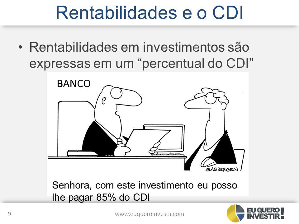 Rentabilidades e o CDI Rentabilidades em investimentos são expressas em um percentual do CDI BANCO.