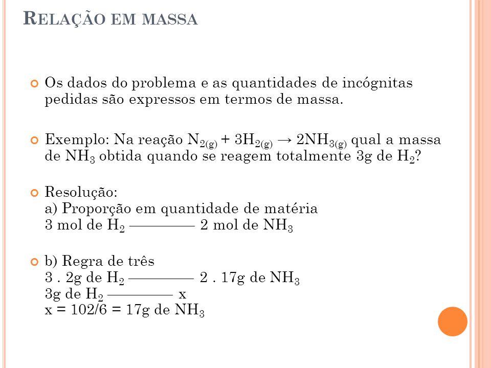 Relação em massa Os dados do problema e as quantidades de incógnitas pedidas são expressos em termos de massa.
