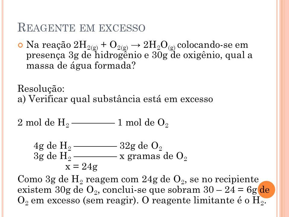 Reagente em excesso Na reação 2H2(g) + O2(g) → 2H2O(g) colocando-se em presença 3g de hidrogênio e 30g de oxigênio, qual a massa de água formada