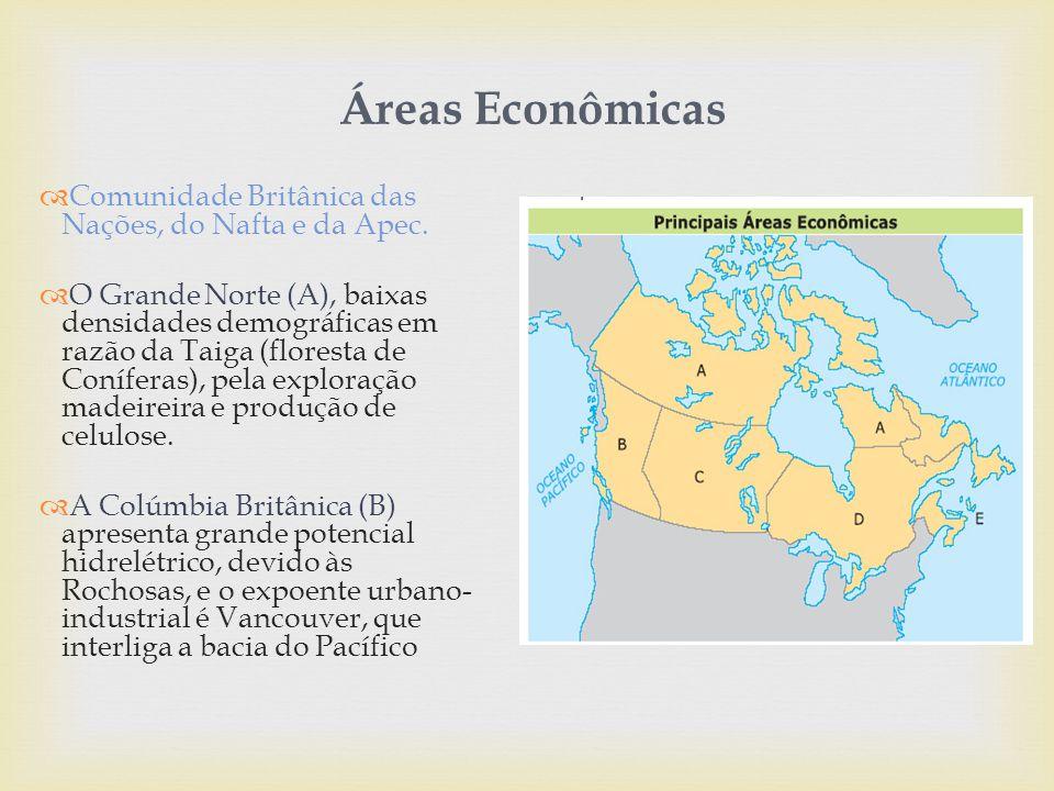 Áreas Econômicas Comunidade Britânica das Nações, do Nafta e da Apec.