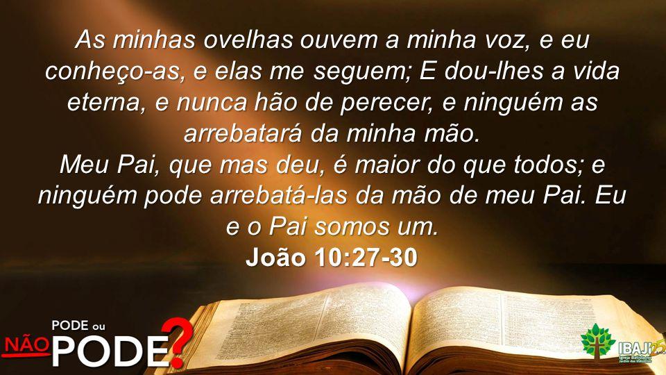 As minhas ovelhas ouvem a minha voz, e eu conheço-as, e elas me seguem; E dou-lhes a vida eterna, e nunca hão de perecer, e ninguém as arrebatará da minha mão.