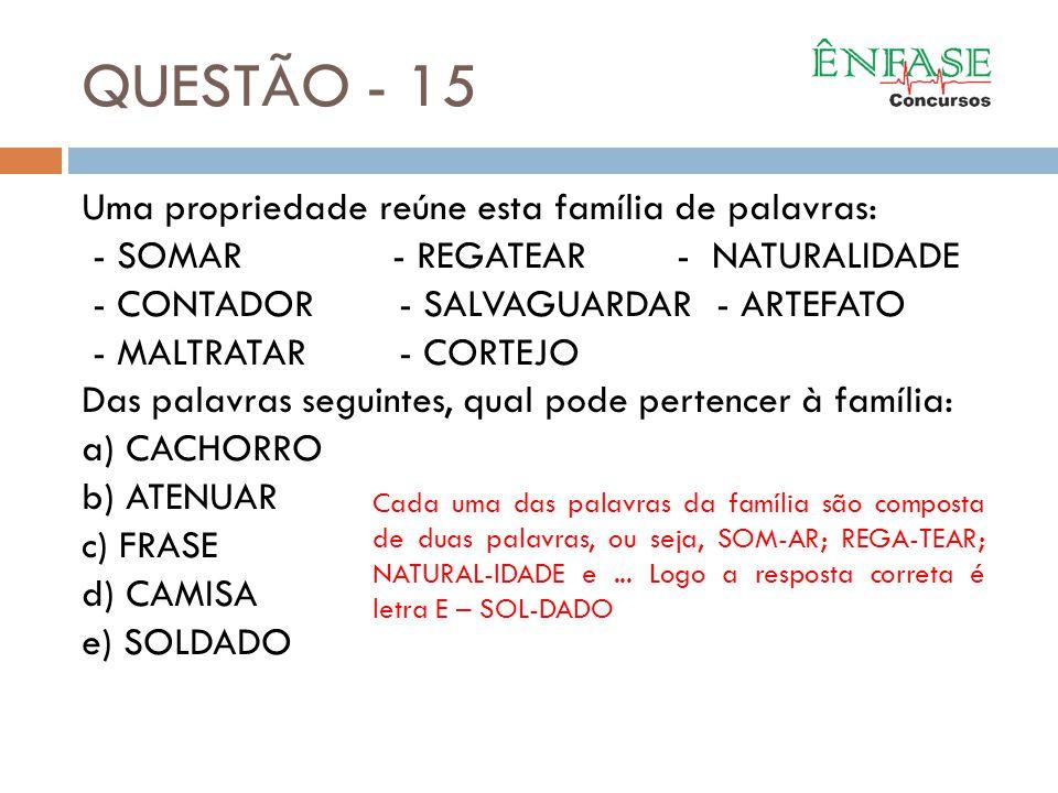 QUESTÃO - 15 Uma propriedade reúne esta família de palavras:
