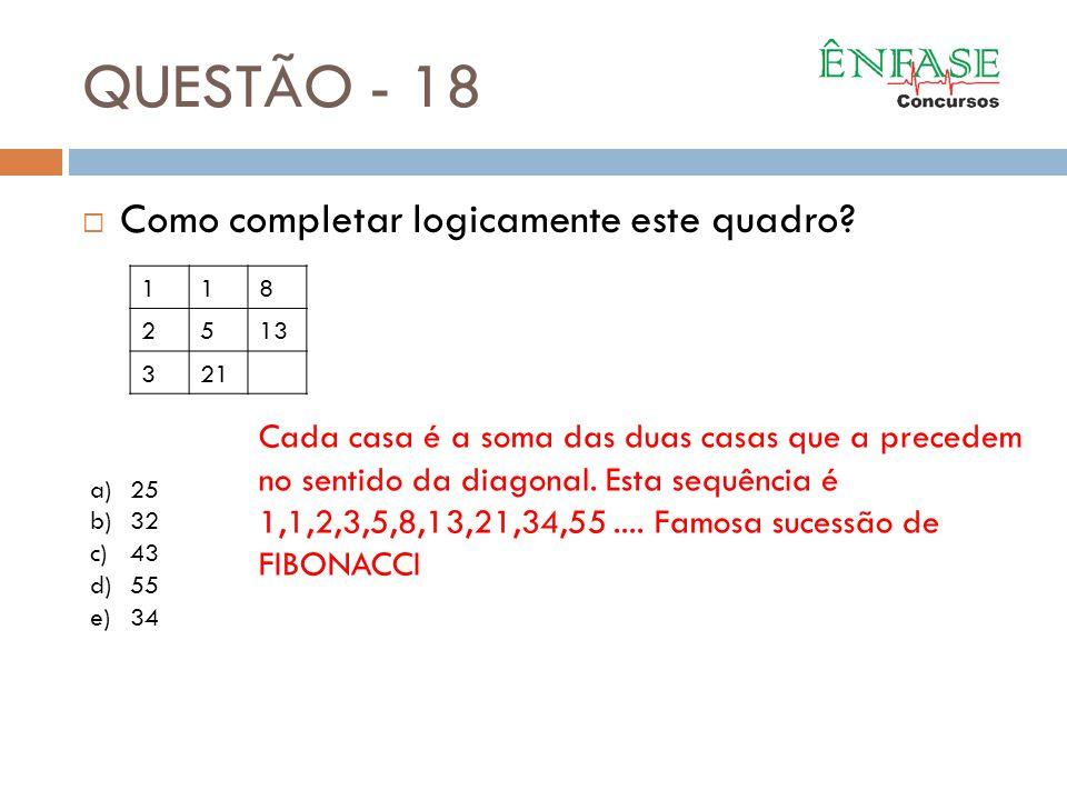 QUESTÃO - 18 Como completar logicamente este quadro