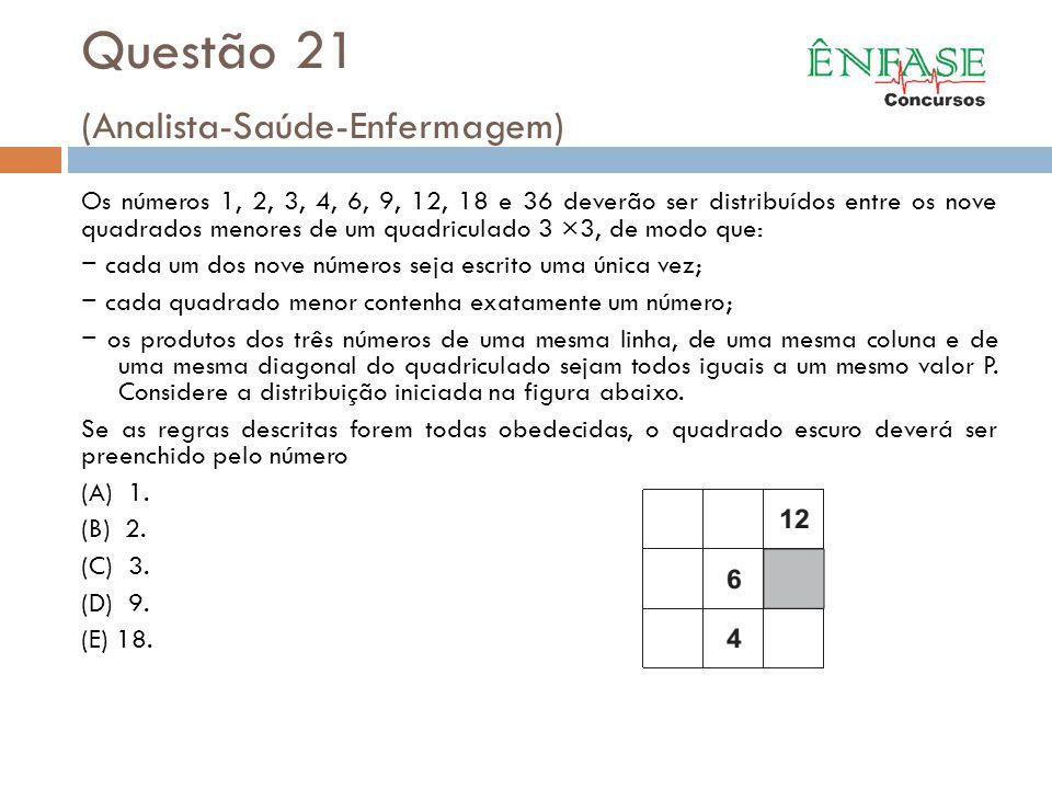 Questão 21 (Analista-Saúde-Enfermagem)