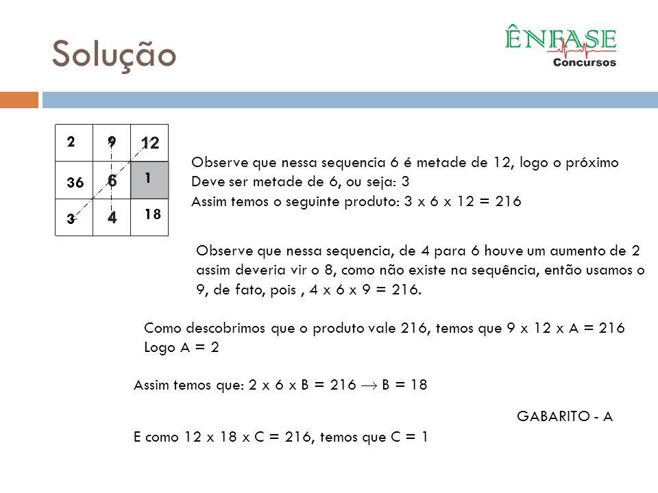 Solução 2. 9. Observe que nessa sequencia 6 é metade de 12, logo o próximo. Deve ser metade de 6, ou seja: 3.