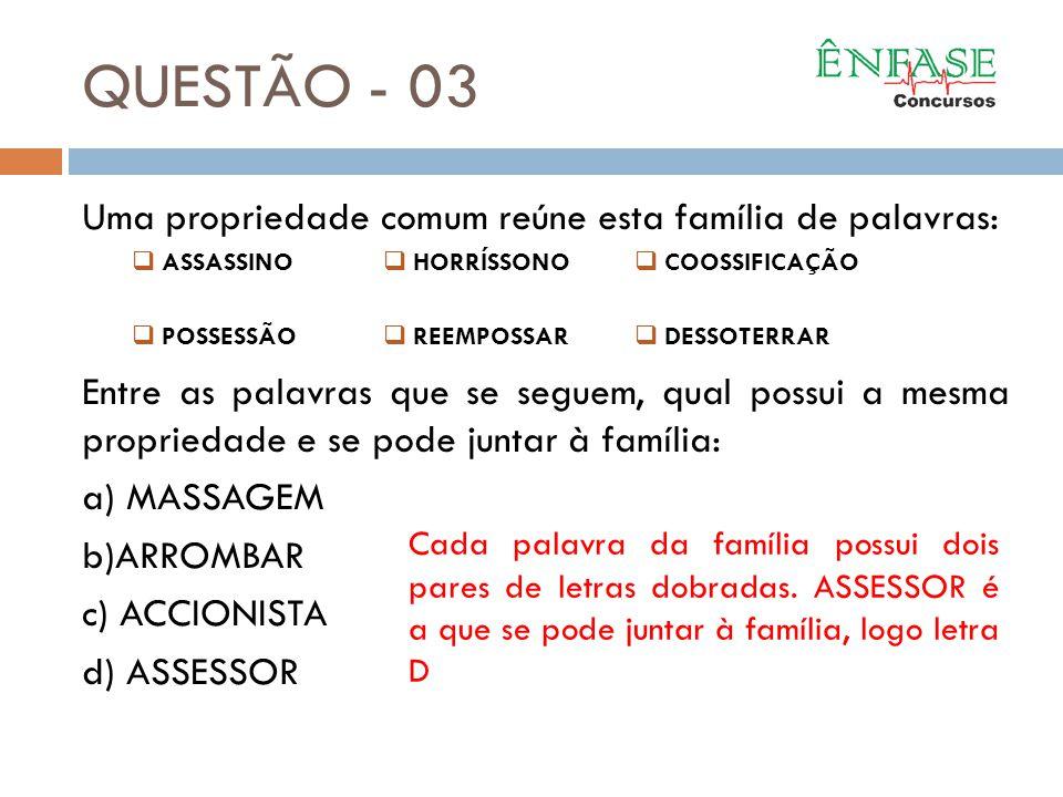 QUESTÃO - 03 Uma propriedade comum reúne esta família de palavras: