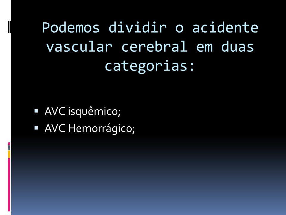 Podemos dividir o acidente vascular cerebral em duas categorias: