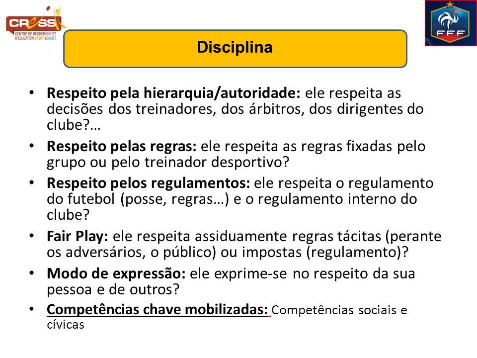 Disciplina Respeito pela hierarquia/autoridade: ele respeita as decisões dos treinadores, dos árbitros, dos dirigentes do clube …