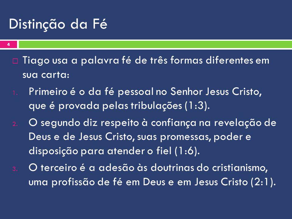 Distinção da Fé Tiago usa a palavra fé de três formas diferentes em sua carta: