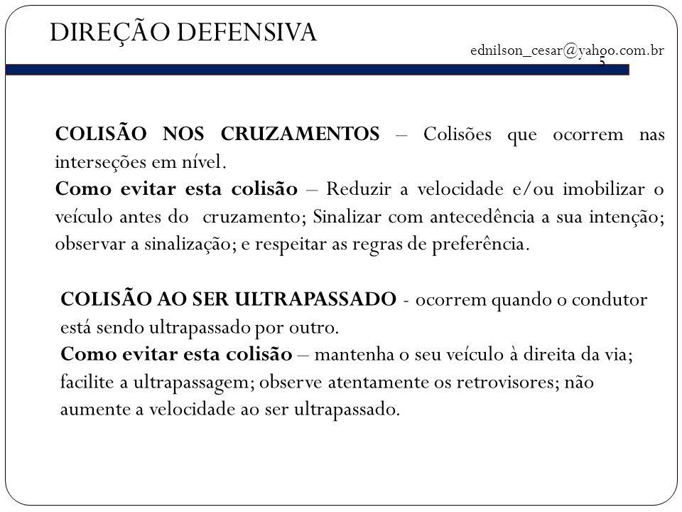 DIREÇÃO DEFENSIVA ednilson_cesar@yahoo.com.br. 5. COLISÃO NOS CRUZAMENTOS – Colisões que ocorrem nas interseções em nível.