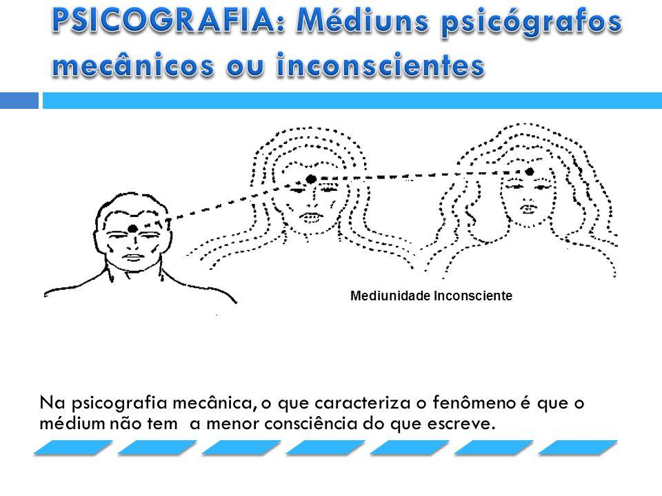 PSICOGRAFIA: Médiuns psicógrafos mecânicos ou inconscientes