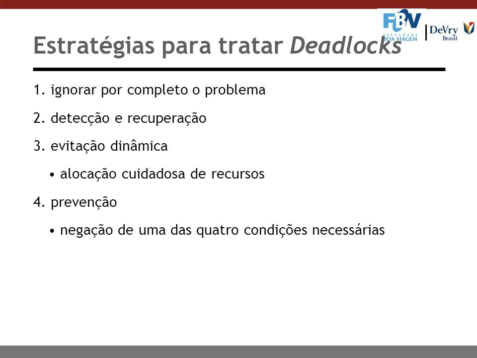 Estratégias para tratar Deadlocks