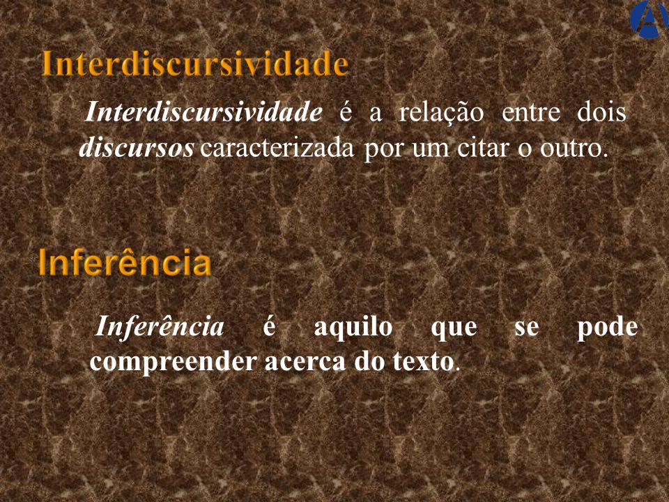 Interdiscursividade é a relação entre dois discursos caracterizada por um citar o outro.