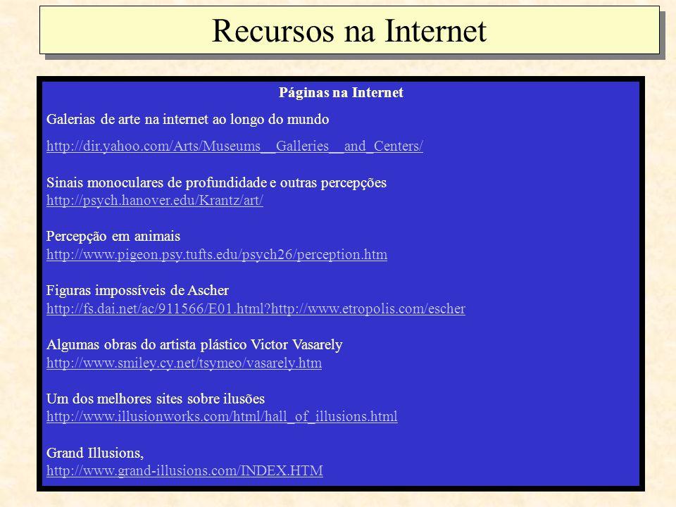 Recursos na Internet Páginas na Internet