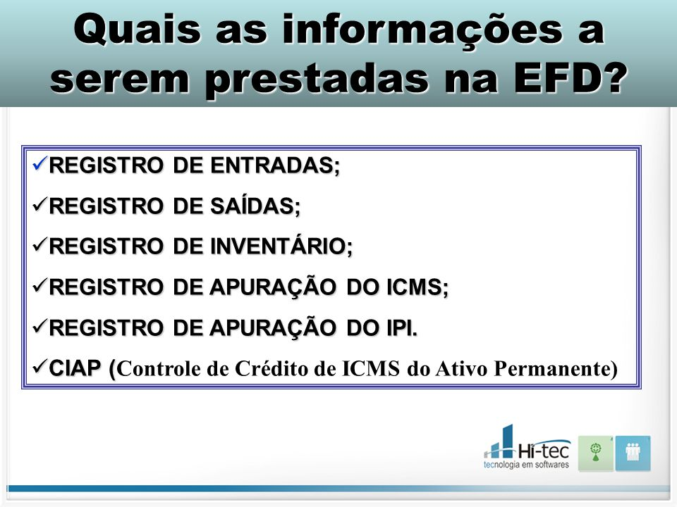 Quais as informações a serem prestadas na EFD