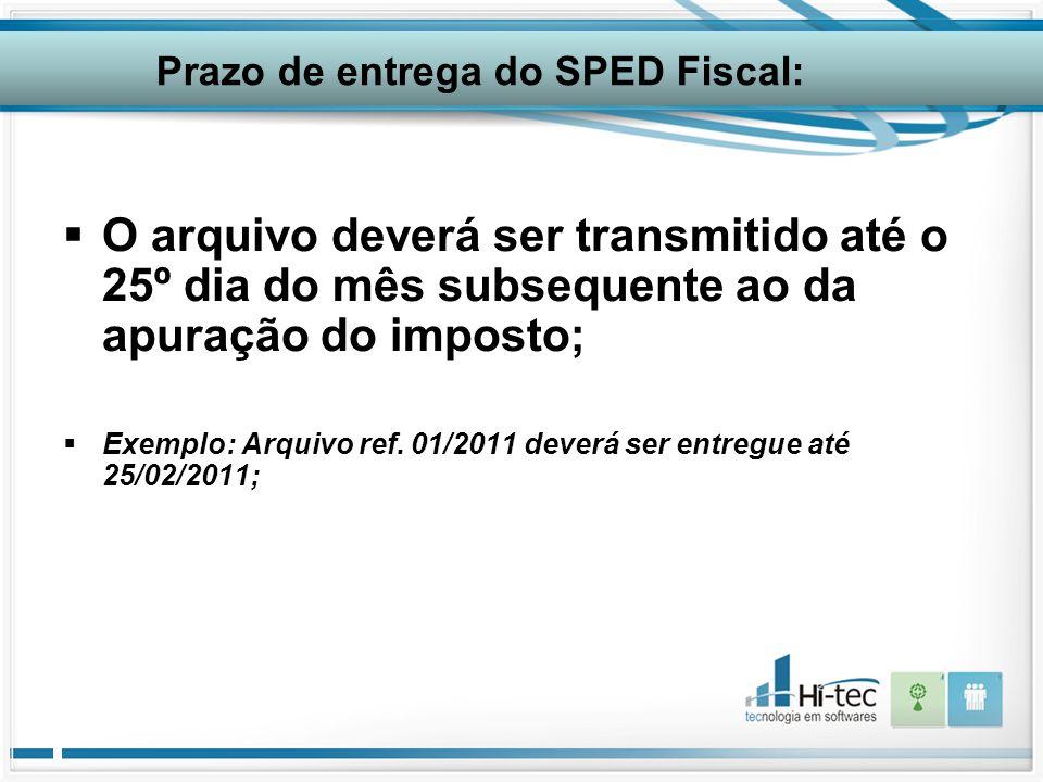 Prazo de entrega do SPED Fiscal: