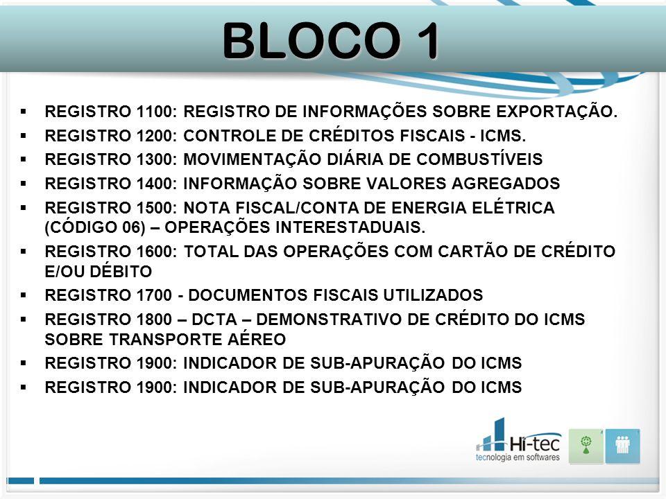 BLOCO 1 REGISTRO 1100: REGISTRO DE INFORMAÇÕES SOBRE EXPORTAÇÃO.