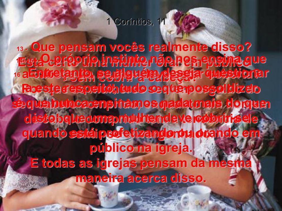 1 Coríntios, 11 13 - Que pensam vocês realmente disso Está certo uma mulher orar em público sem cobrir a cabeça