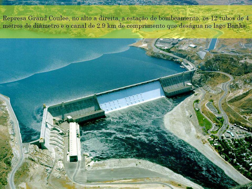 Represa Grand Coulee, no alto a direita, a estação de bombeamento, os 12 tubos de 4 metros de diâmetro e o canal de 2.9 km de comprimento que deságua no lago Banks.