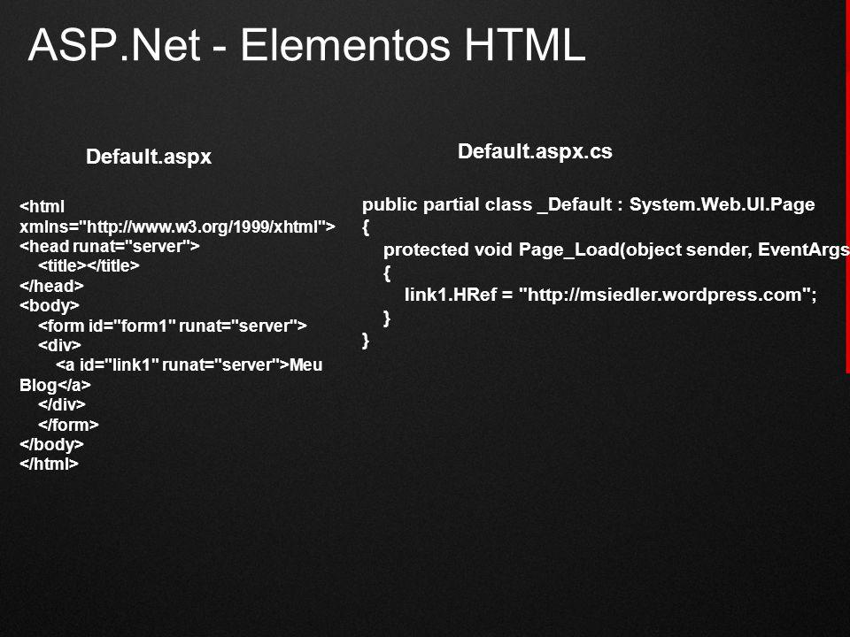 ASP.Net - Elementos HTML