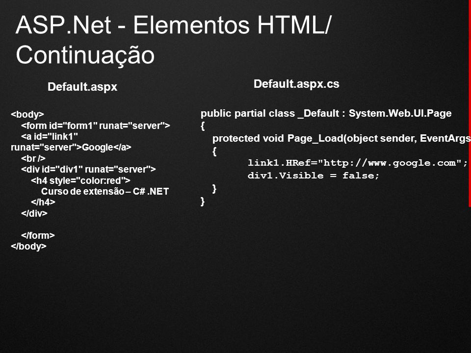ASP.Net - Elementos HTML/ Continuação