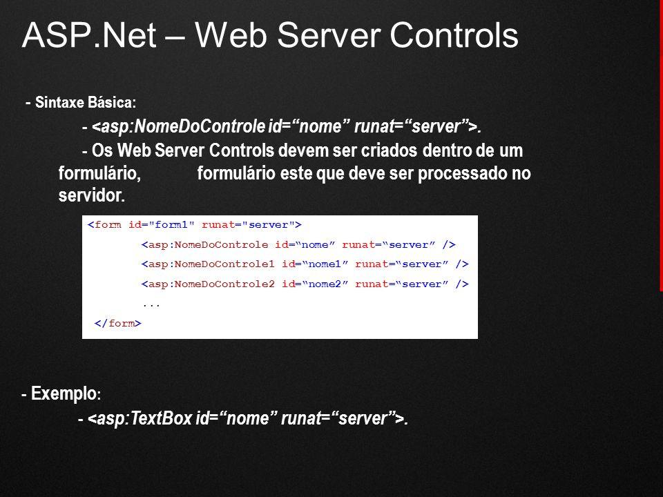 ASP.Net – Web Server Controls