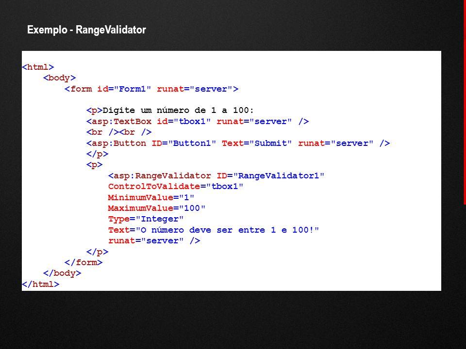 Exemplo - RangeValidator