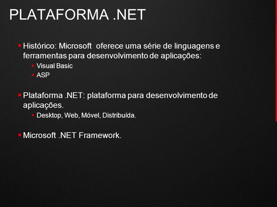 PLATAFORMA .NET Histórico: Microsoft oferece uma série de linguagens e ferramentas para desenvolvimento de aplicações: