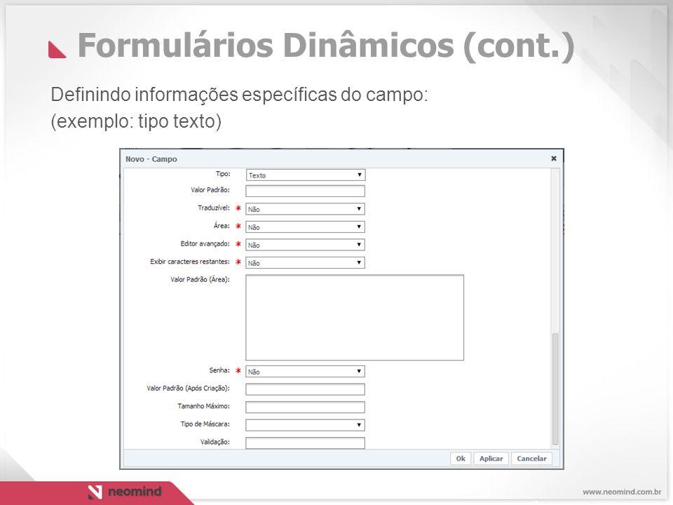 Formulários Dinâmicos (cont.)