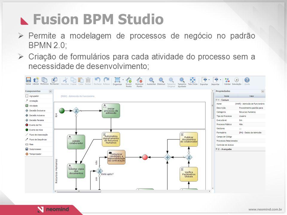 Fusion BPM Studio Permite a modelagem de processos de negócio no padrão BPMN 2.0;