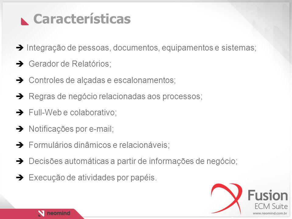 Características Integração de pessoas, documentos, equipamentos e sistemas; Gerador de Relatórios;